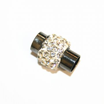 7mm - 17mm x 14mm  clear stone pave crystal magnetic clasps - gun metal - 03